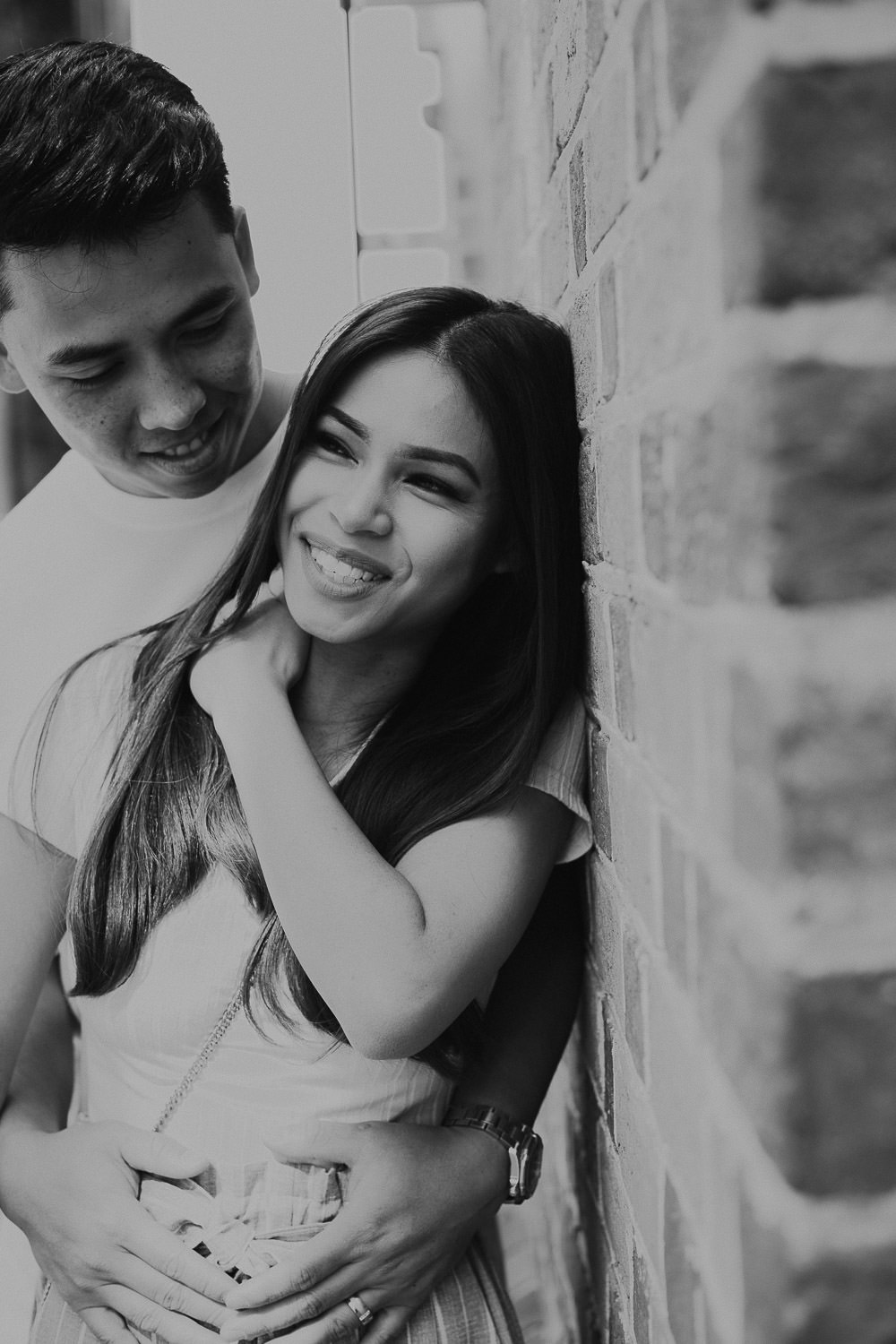 Couple smiling in Black and white image