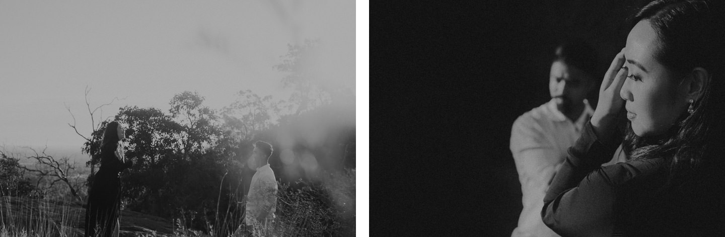Black and white image of couple in perth bushland