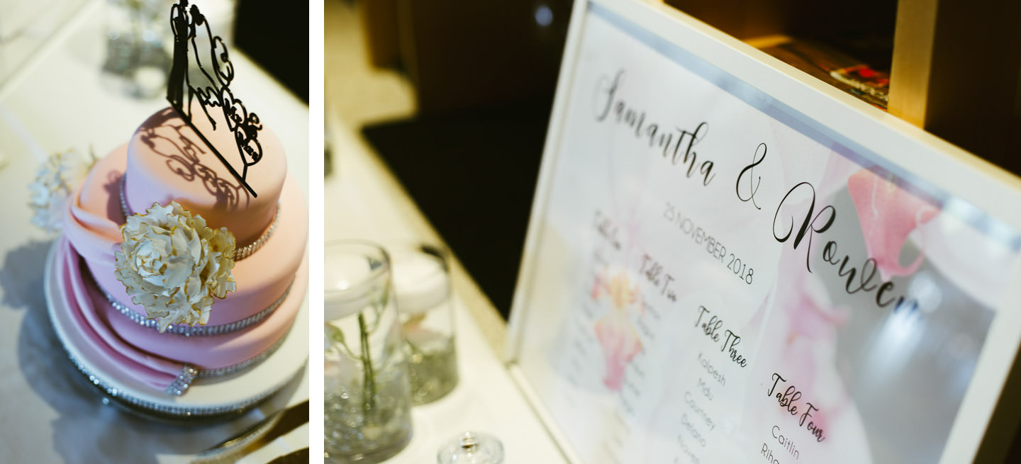 Wedding cake and table guest list