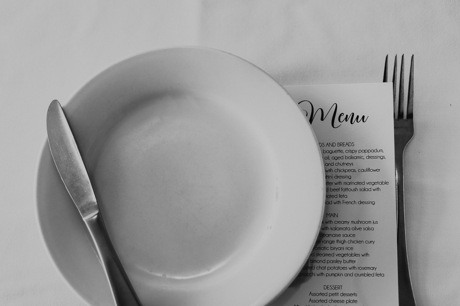 Table setting and Dinner menu