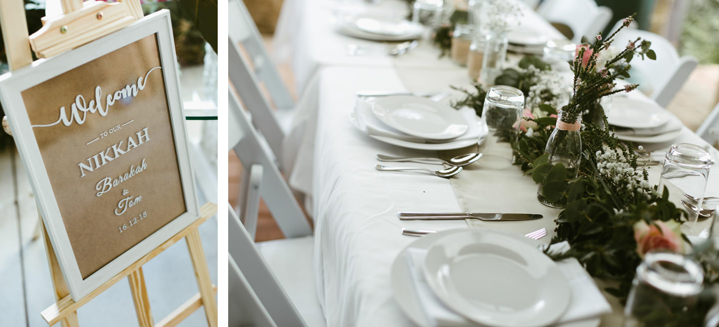 intimate backyard wedding table settings and props