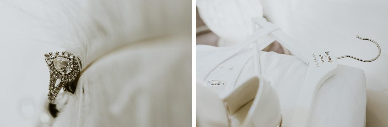 Wedding Ring Detail and custom hanger