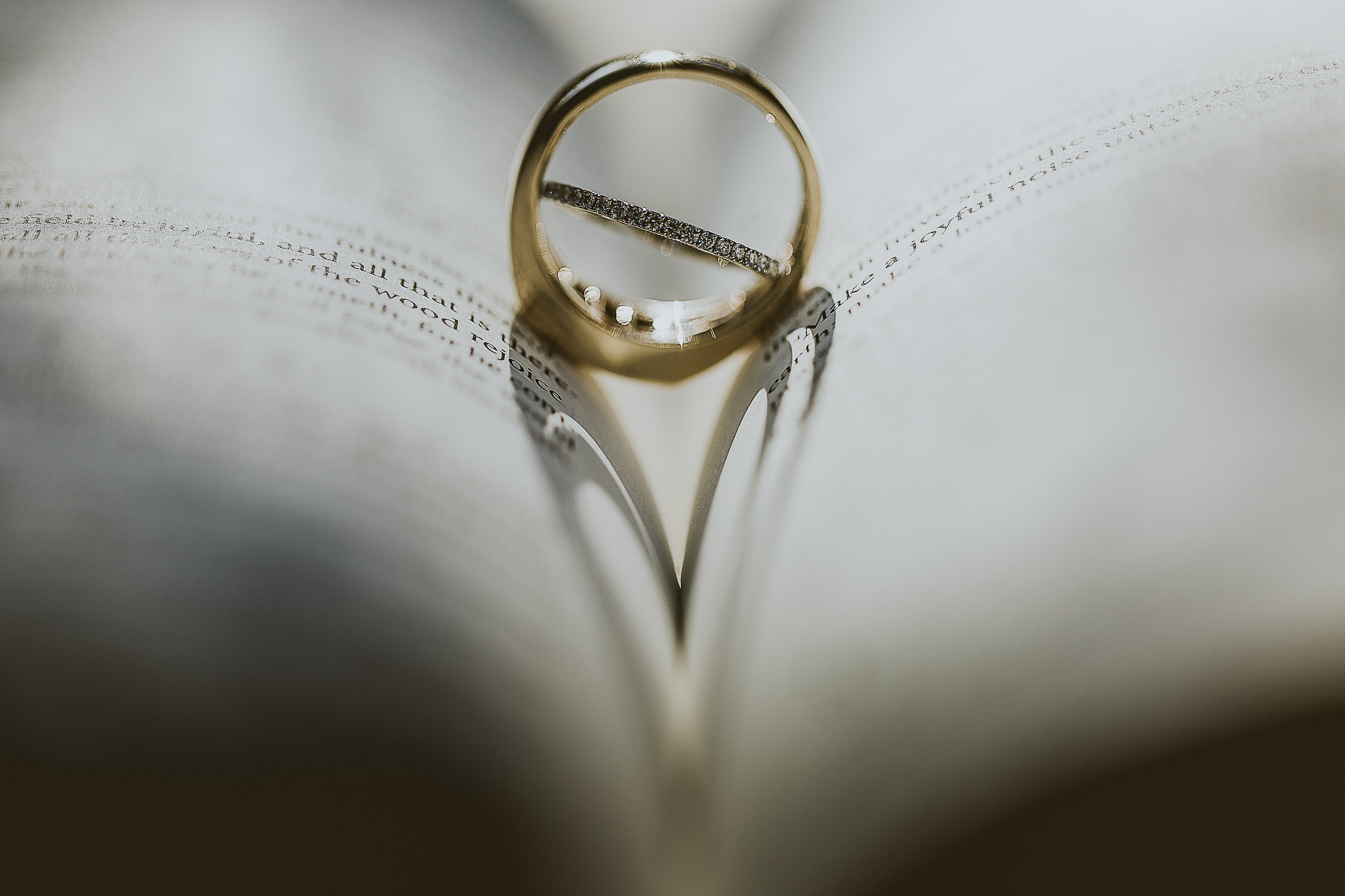 Wedding rings resting in the pages of the bible creating a shadow of a love heart