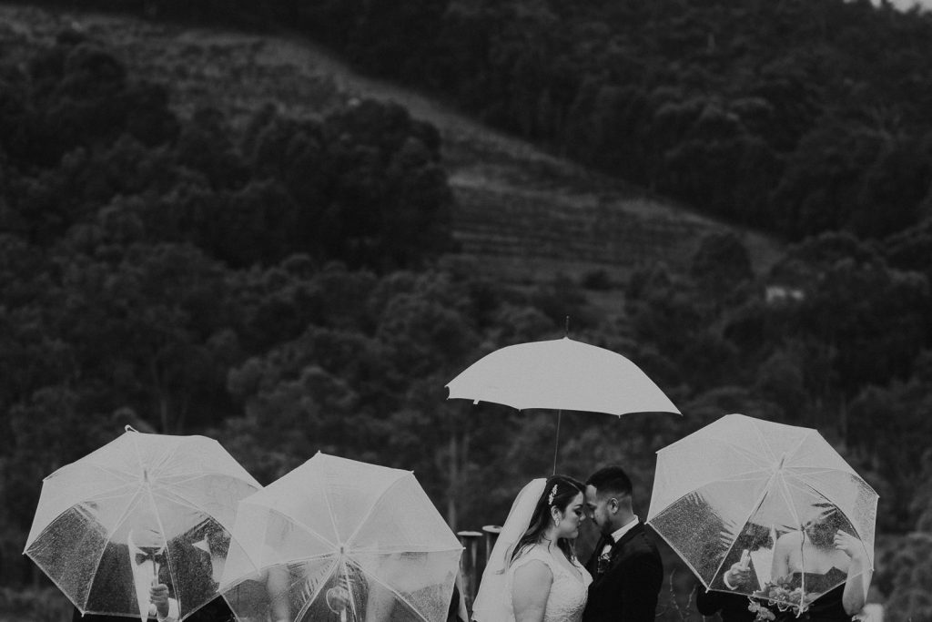 black and white image bridal party photo