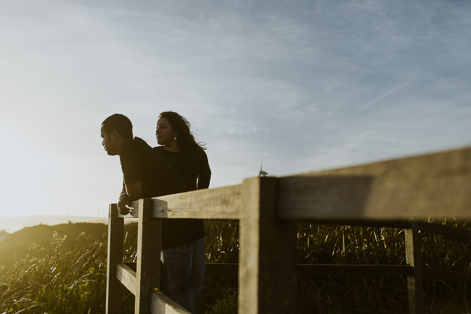 Mache & Michael looking out to the view at Albany WIndrfarm boardwalk
