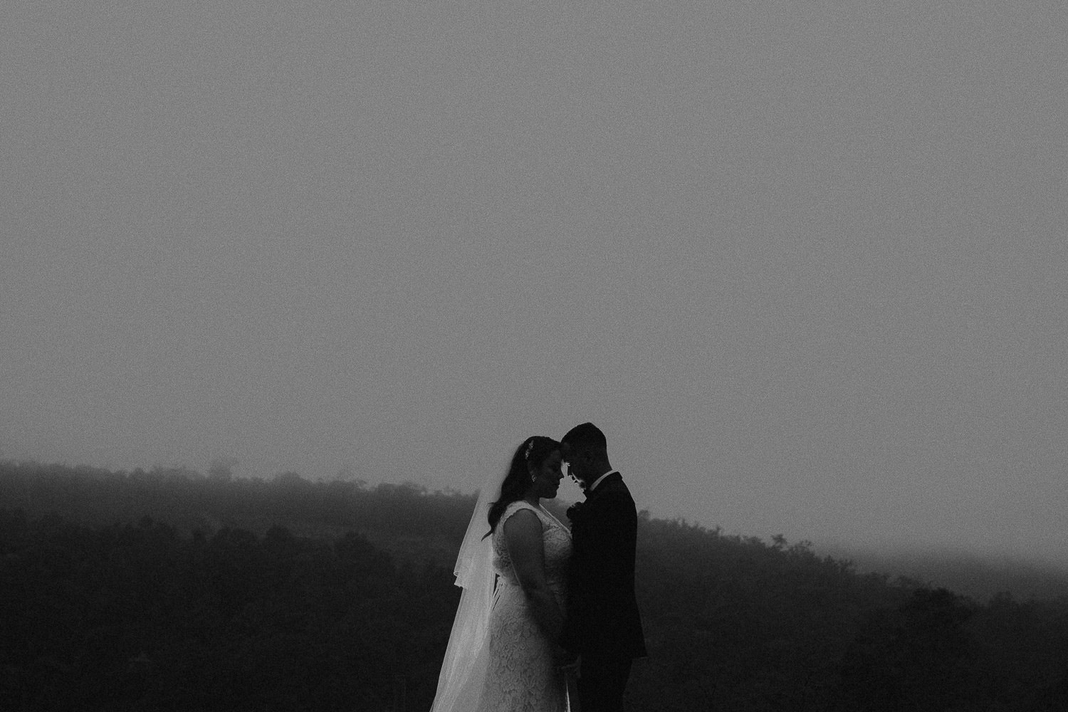 Black and white photo of newlyweds in Darlington estatef